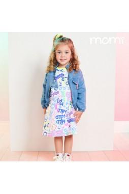 Vestido Momi Escritas e Desenhos Neon J3748
